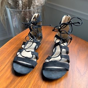 Topshop Black Faux Suede Lace Sandals